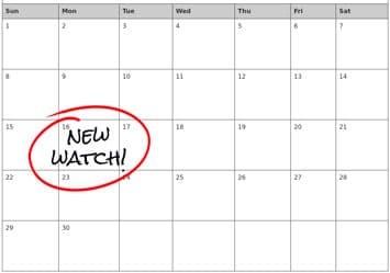 """Calendar with """"new watch"""" written on a date"""