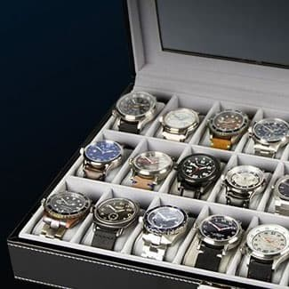 Black watch case full of watches